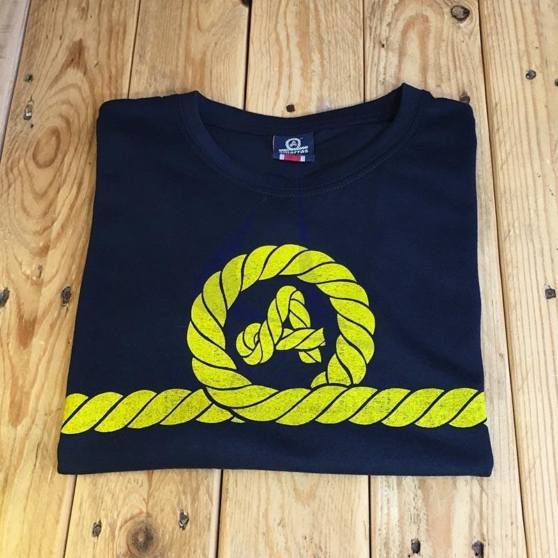 Camiseta Amarras unisex Yankee azul marino con nudo amarillo