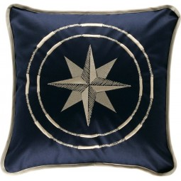 NAVY BLUE 40X40CM FREESTYLE COMPASS ROSE CUSHION CASE
