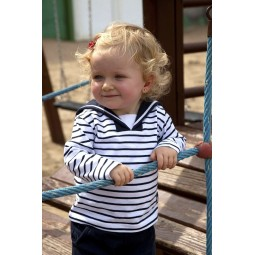 WHITE & NAVY BLUE SAILOR COLLAR BATELA BABY T-SHIRT