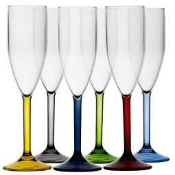 6 PARTY CHAMPAGNE GLASSES - COLOR BASE