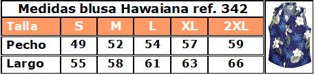 Guía de tallas blusa hawaiana