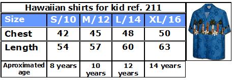 Hawaiian kids shirts size chart