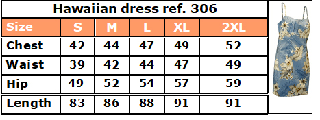 306 hawaian dress size guide