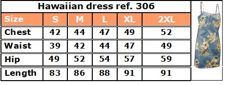 306 Hawaiian dress size chart