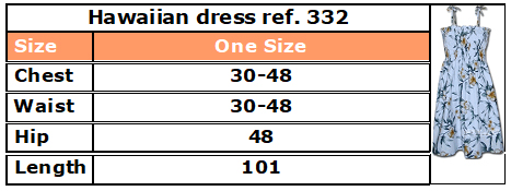332 hawaiian dress size guide