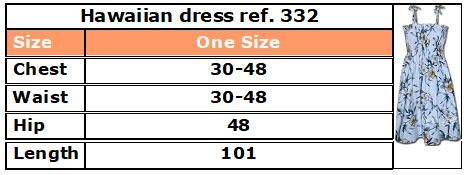 332 Hawaiian dress size chart