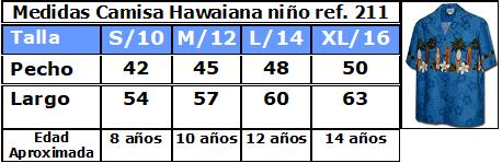 Guía de tallas camisas hawaianas de niño