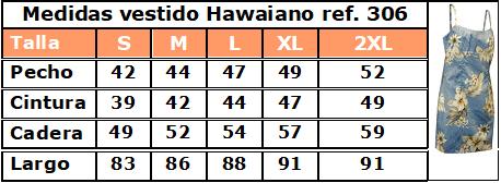 Guía de tallas vestido hawaiano 306