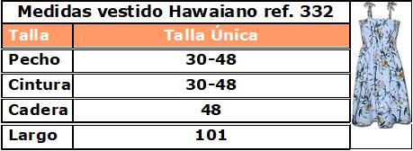 Guía de tallas vestido hawaiano 332